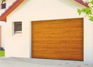 Секционные подъемные ворота. Панель золотой дуб